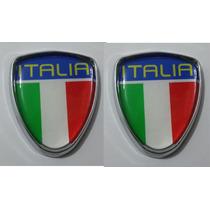 Emblema Italia Com Moldura Cromada Punto, Etc - Par