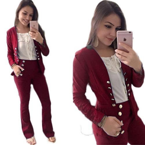 Blazer Feminino Terno Casaco Social Detalhes Botoes E Renda - R  48,00 em  Mercado Livre a6338360a4