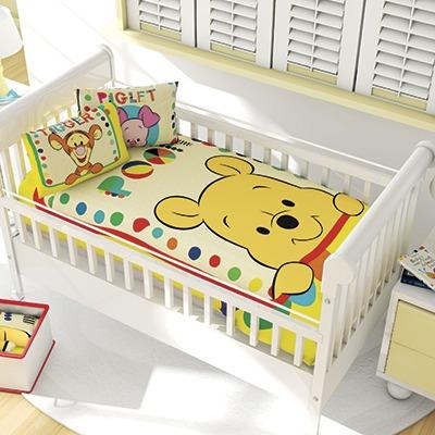 Set Edredon Cuna + Cojin 2 Vistas Cunero Bebe Winnie Pooh