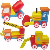 Set 4 Camiones Construccion Madera Didacticos Desarmables