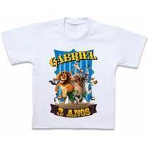 Camiseta Madagascar Blusa Personalizada Roupas Em Algodão