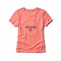 Hollister - Camiseta Com Estampa - Coral Tamanho Médio