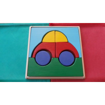 Rompecabezas Auto De Madera, Para Niños, Didáctico, Artesana