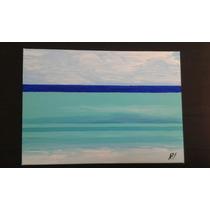 Cuadro Pintura Mar Playa Arte Azul Abstracto Decoración
