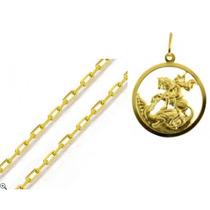 Corrente Ouro 18k Cartier De 0,9mm+medalha São Jorge 3,6cm