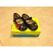 Zapatos Niña Charol Azules. Bonitos Moños Y Botones! 15 Cm