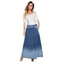 Saia Longa Via Tolentino Jeans Azul Frete Grátis