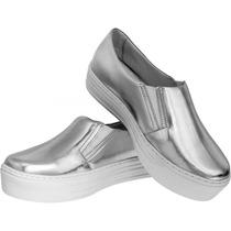 Sapato Tênis Feminino Solado Alto Prateado Moda Lançamento