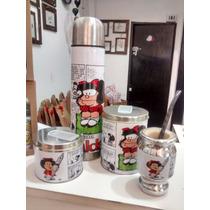 Set Matero Mafalda, Termo 1l,mate,bombilla,azucarera,yerbera