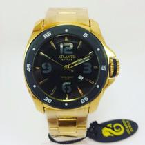 Relógio Grande Dourado Masculino Atlantis Esportivo Luxo