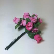 144 Mini Rosas Pink Flores Rosinhas Artificiais Cetim