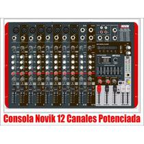 Consola Potenciada Novik 12 Can 1200w Rms Nvk1200 Usb Sd