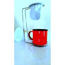 Mini Coador De Café+suporte Cromado+caneca Esmaltada+brinde
