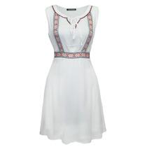 Vestido Sin Manga Bordado Dama Mujer Blanco 9742 Zoara