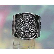 Anillo De Calendario Azteca En Plata Fina Ley.925 Sterling