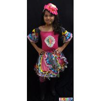 Vestido Junino Roupa Festa Junina Caipira Infantil Luxo