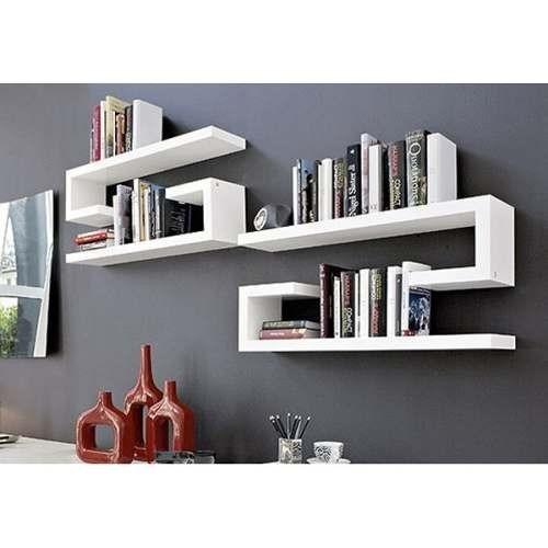 Repisa minimalista flotante moderna barata forma bast n for Repisas espacios pequenos