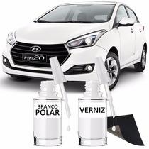 Tinta Tira Risco Automotivo Hyundai Hb20 Cor Branco Polar