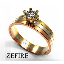 Anillo Compromiso De Oro Y Zirconia Puro Brillo Zefire