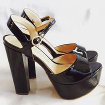 Sandalia Verniz Salto Alto Grosso Marca Leluel Shoes
