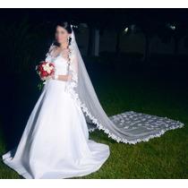 Vestido De Novia Blanco Incluye Armador, Cinturón Y Mantilla