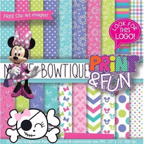 Kit Imprimible Pack Fondos Minnie Mouse Clipart Cod 2