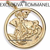 Rommanel Medalha Pingente São Jorge Folh Ouro 18k 541256