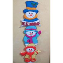 Muñeco De Nieve Con Letrero Feliz Navidad De Fieltro