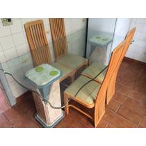 Mesa De Vidro Com Suporte De Mármore Com 6 Lugares E Cadeira