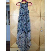 Vestido Zara Floral Longo Com Saia Mullet