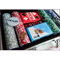 Maletin Fichero Poker 200 Fichas Laser Naipes Dados Sipi