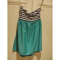 Vestido Strapless Roxy - Talle S - Negro, Blanco Y Verde