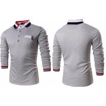 Camisa Polo Casual Fashion Slim Detalhada C/bolso Mang Longa