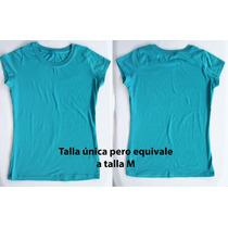 Franela Unicolor Azul En Algodon Talla M