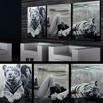 Cuadros Tigres Blanco Cabecera Dormitorio Deco Animal Sex