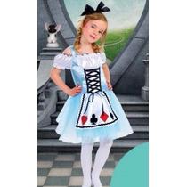 Fantasia Infantil Alice Pais Das Maravilhas Nova 3 A 5 Anos
