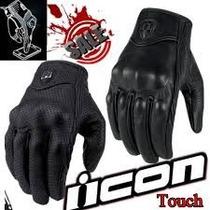 Luva Icon Couro,touch Tel. Harley Honda Yamaha Suzuki Bmw