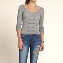 Blusa Manga Comprida Hollister Cinza Claro Friday - Monday