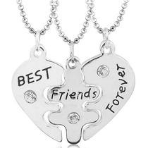Colar Best Friends Cordão Amizade Triplo 3 Amigos Prateado