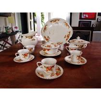 Conjunto Aparelho Café Semi Porcelana Inglesa Floral 1913