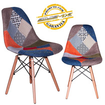 Cadeira Charles Eames Design Patchwork Base Madeira Dkr