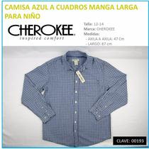 Camisa Cuadros Manga Larga P/niño Marca Cherokee Talla 12-14