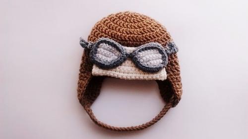 Gorro De Aviador Tejido A Crochet Para Bebés -   350 5027677313a