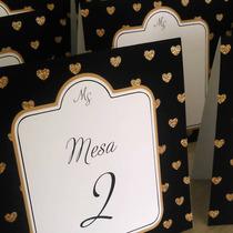 Numero Mesa 16x15 Corazones Casamiento Quince 15 Años