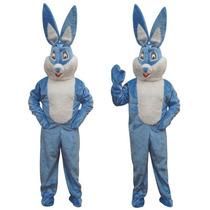 Pelúcia Fantasia Mascote Cabeçao De Coelho Luxo Adulto Azul