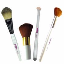 Kit Com 4 Pinceis De Maquiagem Profissional Cerdas Sintética
