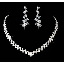 Collar Aretes Elaborado Cristal Swarov Elements Boda Xv.