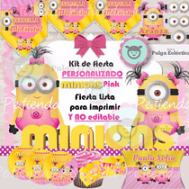 Kit Imprimible Minion Niña Baby Nautico Valiente Minnie Mash