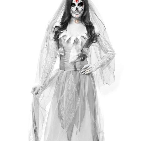 fantasma zombie vestido de la novia y el velo de adultos de
