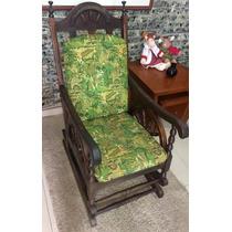 Cadeira Balanço Antiga Mola Estofada Linda 94p X 116a X 59l
